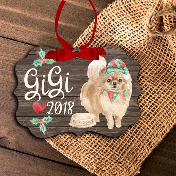 Pomeranian dog personalized Christmas ornament