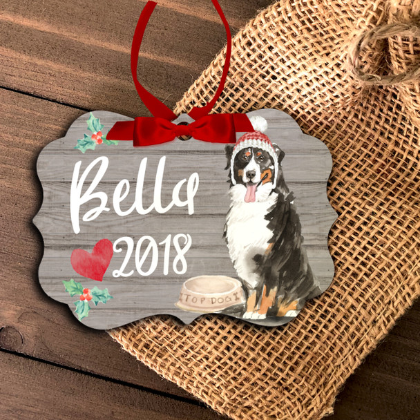 Bernese Mountain Dog personalized Christmas ornament
