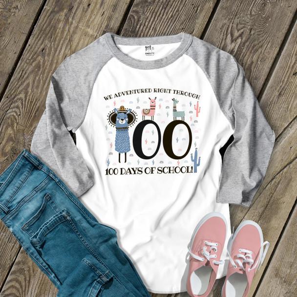 Teacher 100 days llamas adventured right through unisex adult raglan shirt