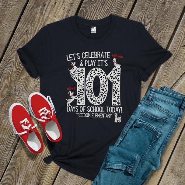 Teacher 101 days of school dalmation puppy DARK Tshirt