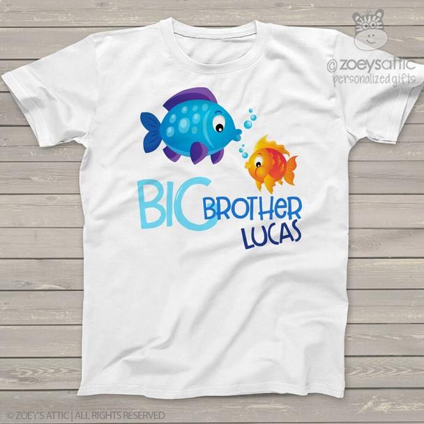 Big brother or big sister funky fish sea ocean life Tshirt