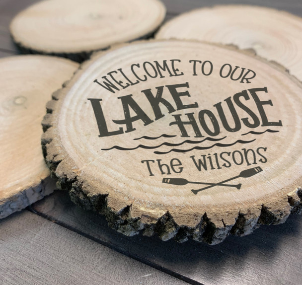 Lake house rustic SET OF FOUR personalized wood slice coasters