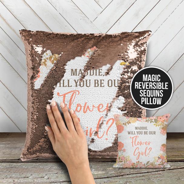 Flower girl proposal will you be my flower girl sequin pillowcase pillow