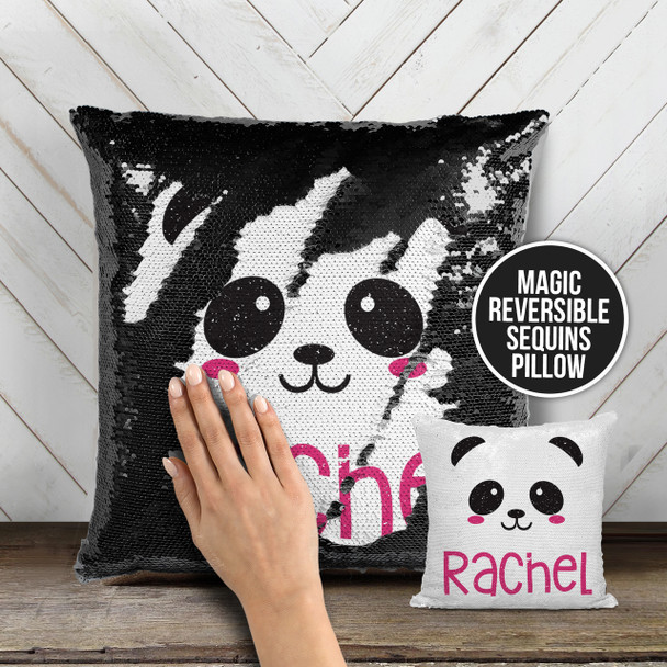 Personalized panda face decorative sequin pillowcase pillow