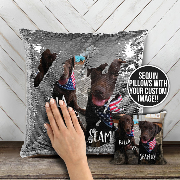 Pick your pet or any favorite photo personalized decorative sequin pillowcase pillow
