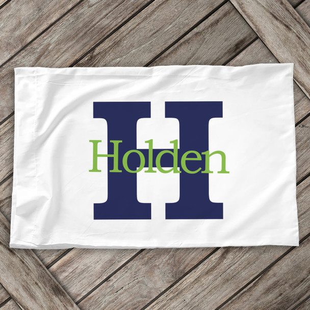 Boys monogram initial and name personalized pillowcase / pillow