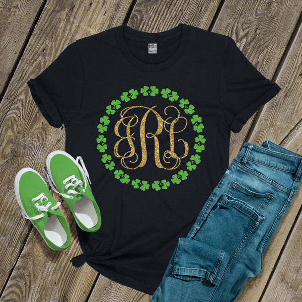 St. Patricks Day glitter monogram shamrock wreath DARK shirt