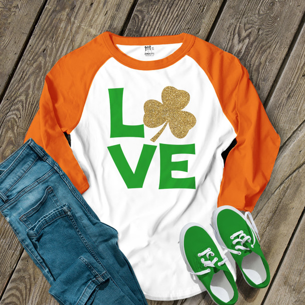 St. Patricks Day love glitter shamrock adult raglan shirt