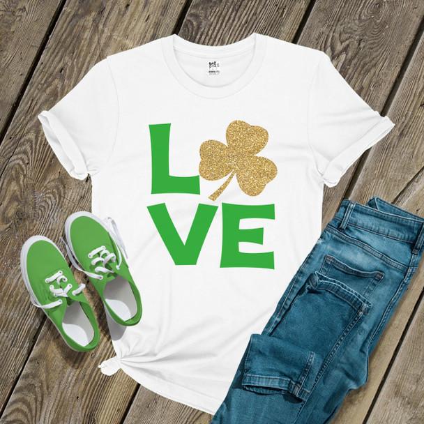 St. Patricks Day love glitter shamrock womens shirt