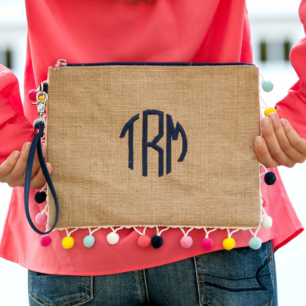 Embroidered personalized burlap wristlet summer pom pom clutch purse