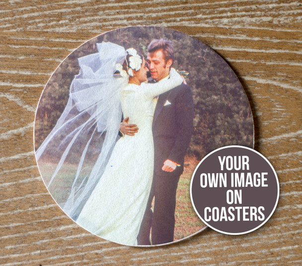 Anniversary party custom photo pulpboard coasters