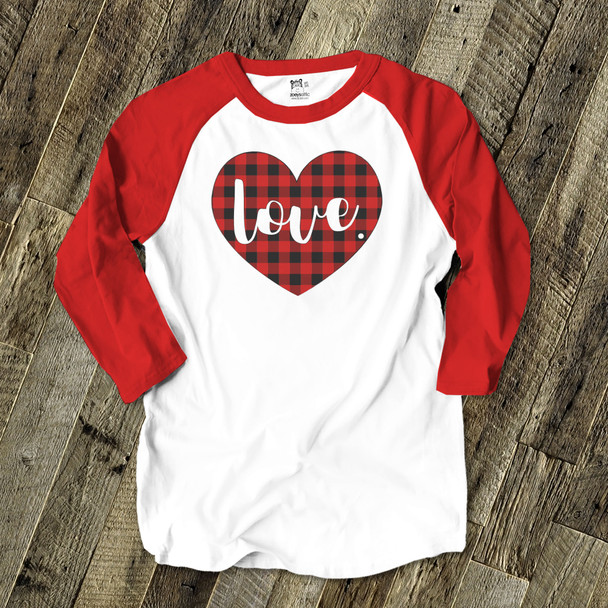 Valentine love red buffalo plaid heart adult raglan shirt