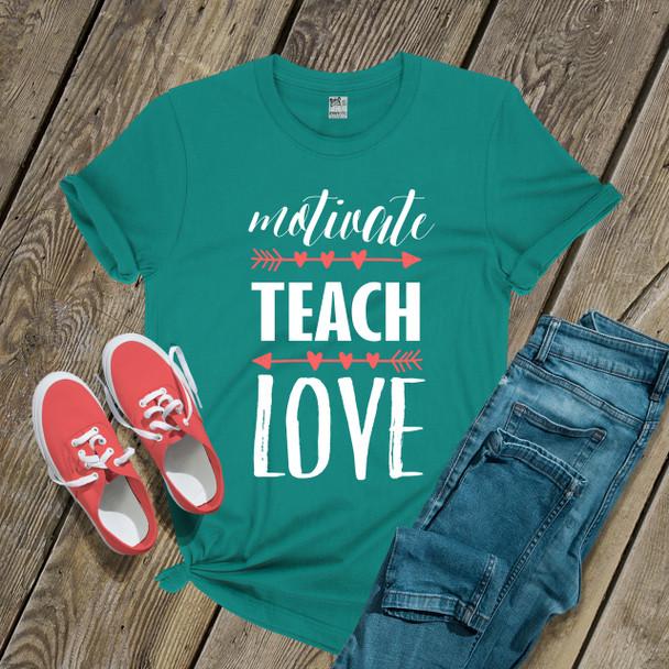 Teacher motivate teach love DARK shirt