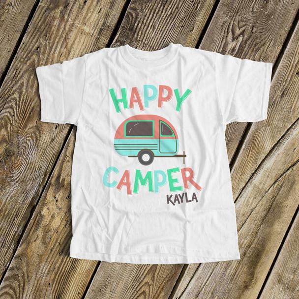 Happy camper girls camping vacation Tshirt