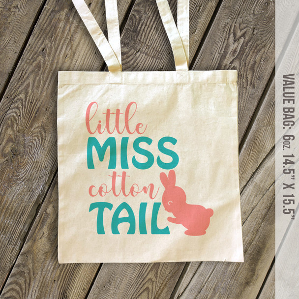 Easter bunny little miss cotton tail tote bag