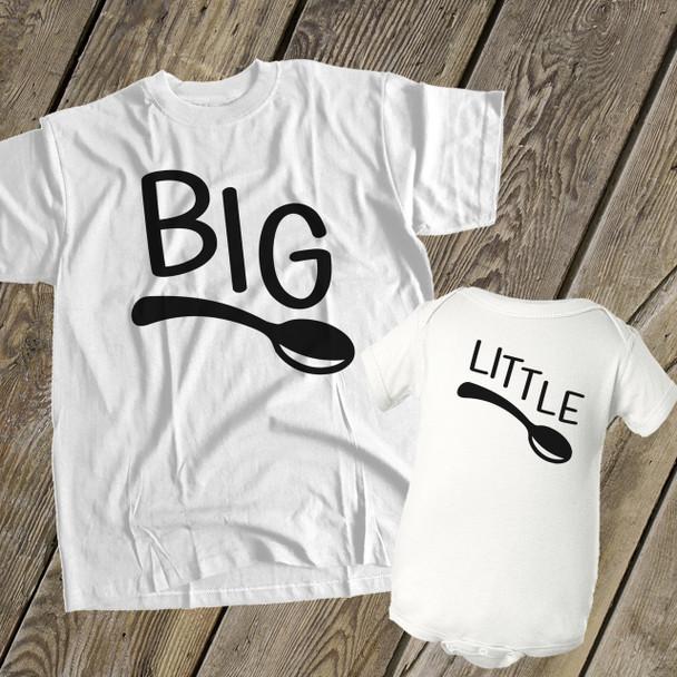 Big spoon little spoon matching t-shirt bodysuit gift set