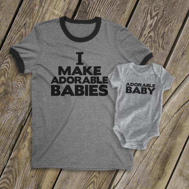 I make adorable babies dad ringer Tshirt and adorable baby bodysuit ORIGINAL design custom gift set