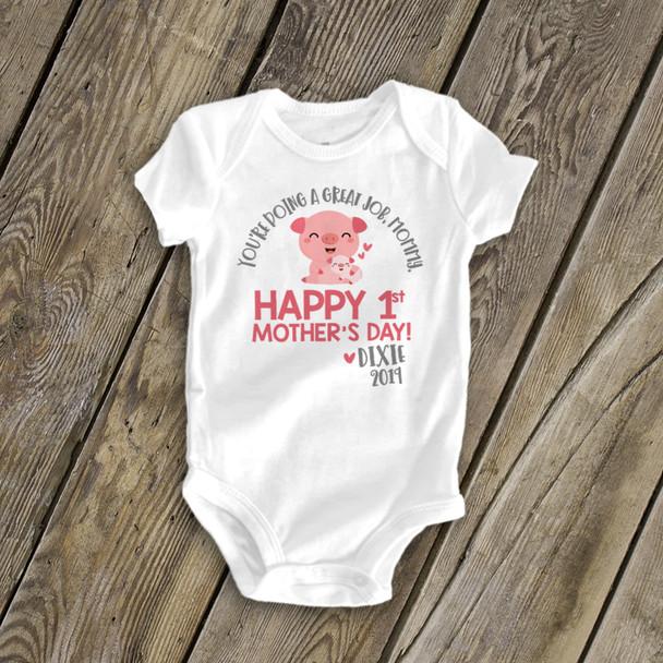 1st Mother's Day piggy great job mommy bodysuit