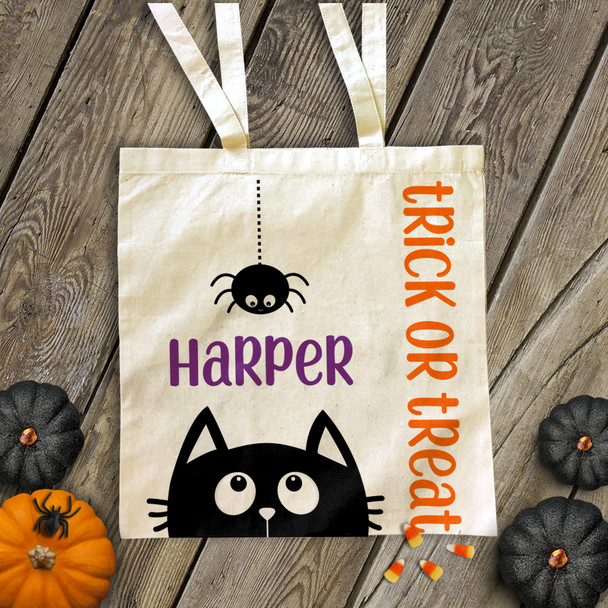 Halloween spider and black cat personalized trick or treat bag