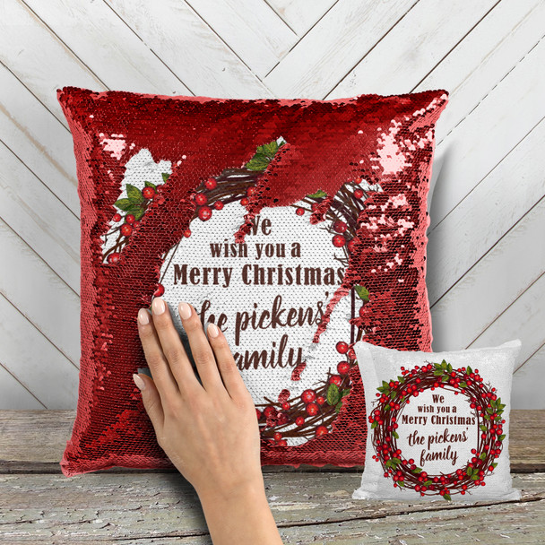 We wish you a merry christmas berry wreath decorative sequin pillowcase pillow