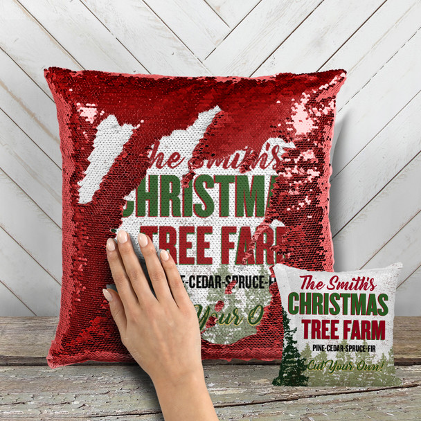 Christmas tree farm decorative sequin pillowcase pillow