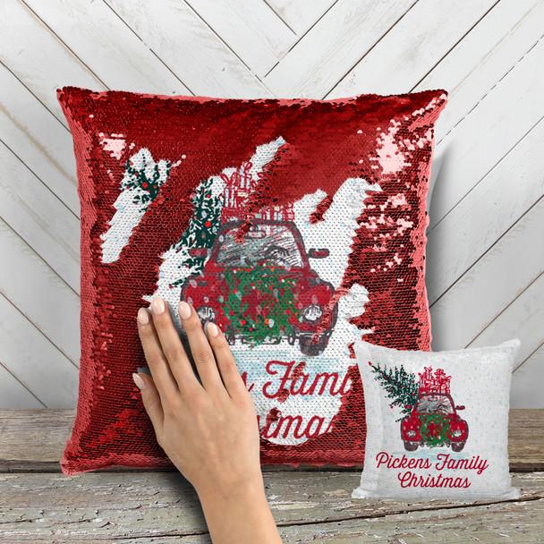 Vintage family Christmas decorative sequin pillowcase pillow