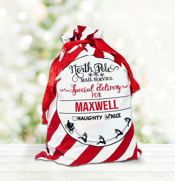 Special delivery personalized red striped santa sack