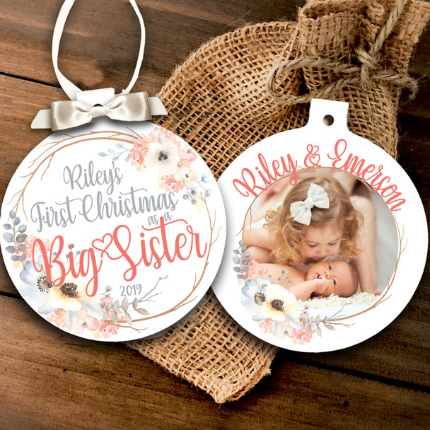 First Christmas as a big sister personalized photo ornament