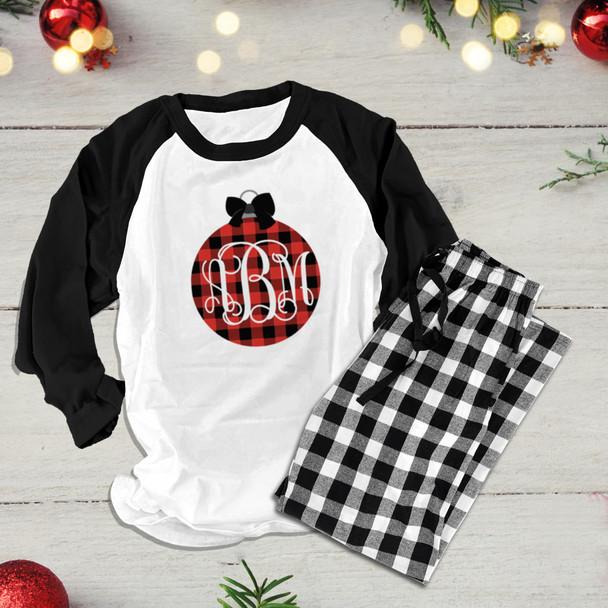 Christmas buffalo plaid ornament monogram raglan shirt with pants option