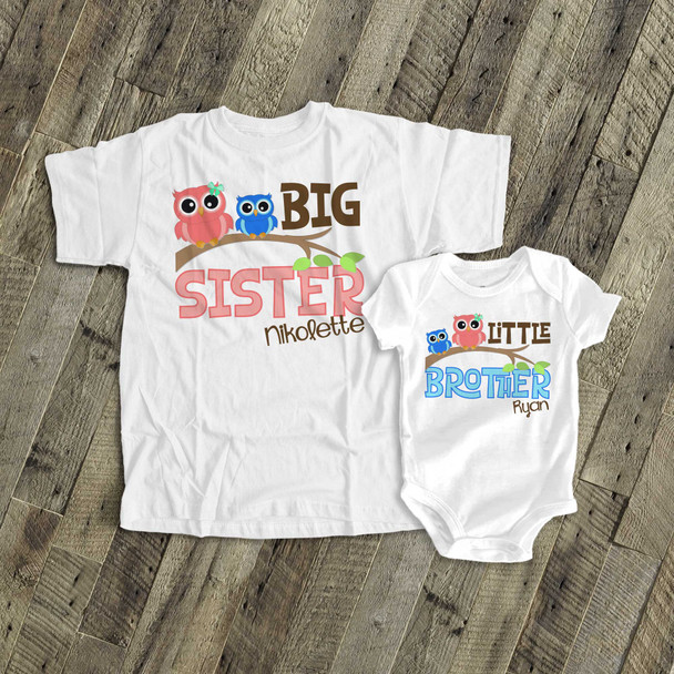 Brother or sister funky owl sibling Tshirt set