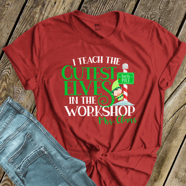 Christmas teacher cutest elves in the workshop personalized DARK Tshirt