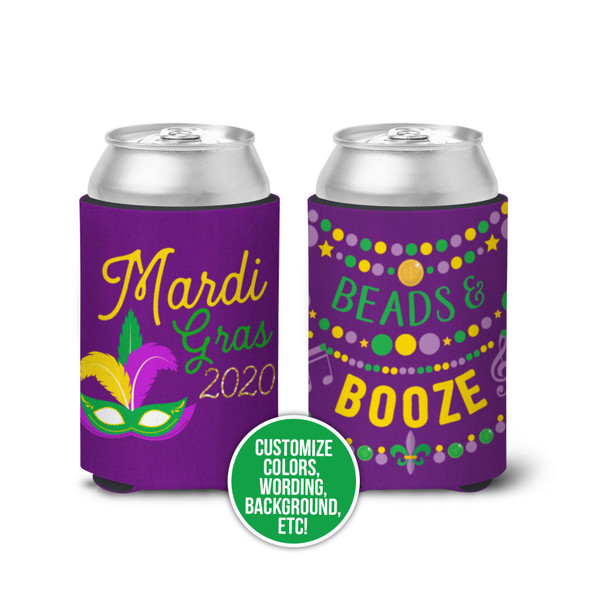 Mardi Gras beads & booze regular or slim can coolies