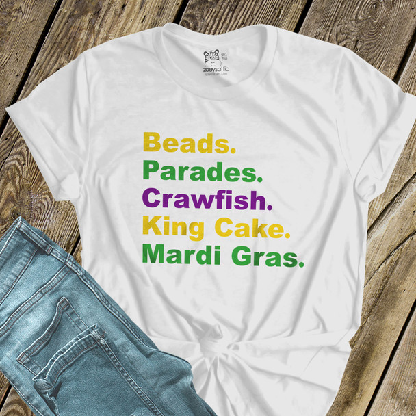 Mardi Gras beads parade crawfish king cake Tshirt