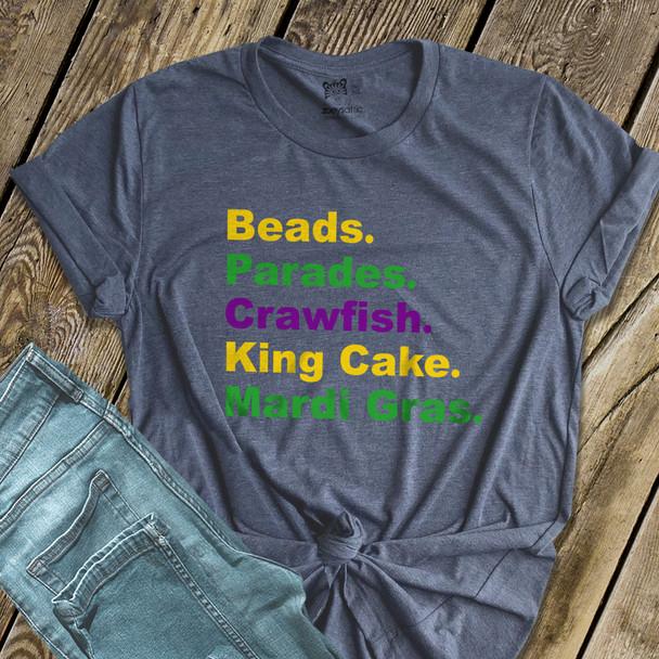 Mardi Gras beads parades crawfish king cake DARK Tshirt