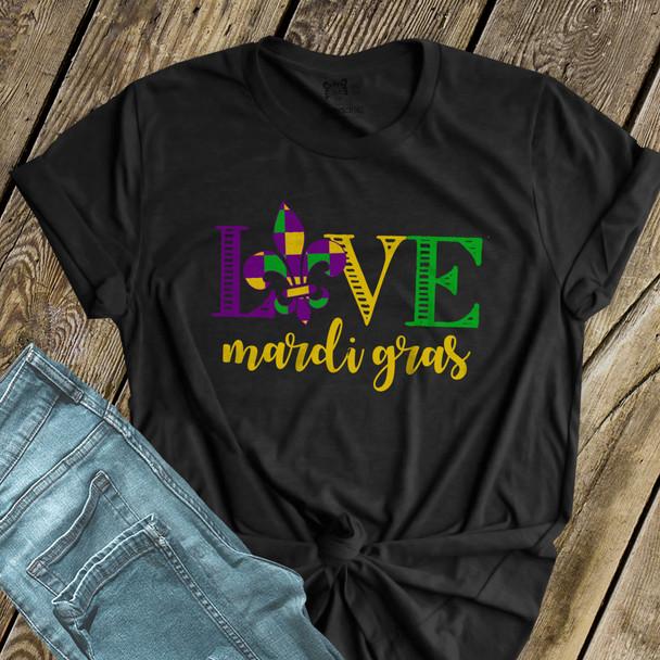 Love Mardi Gras fleur de lis DARK Tshirt