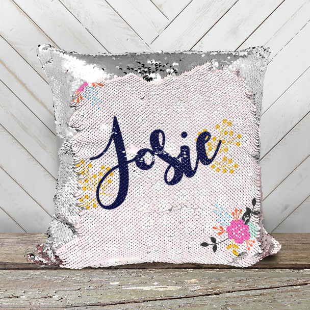 Spring flowers personalized decorative sequin pillowcase pillow