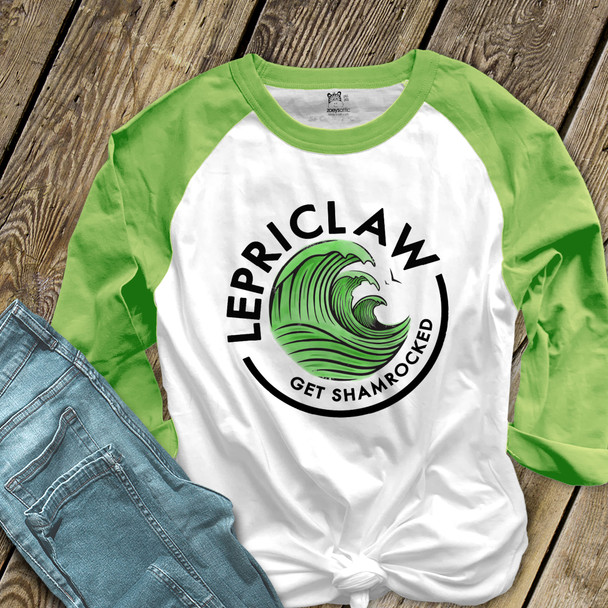 St. Patrick's Day funny lepriclaw get shamrocked adult raglan shirt