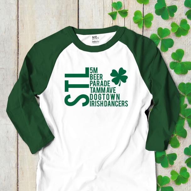 St. Patrick's Day STL saint louis adult unisex raglan shirt