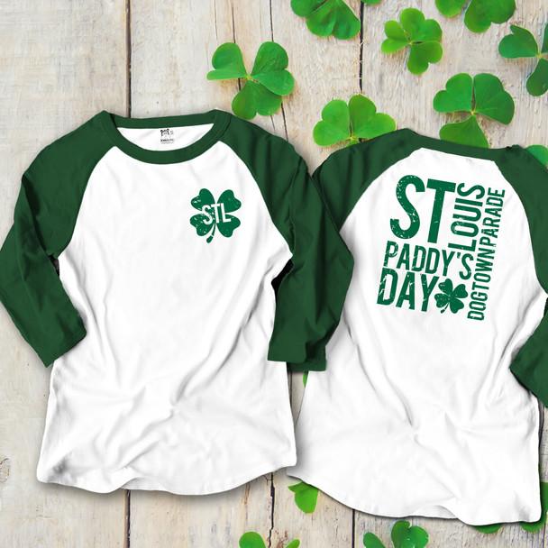 STL shamrock St. Paddy's dogtown parade adult unisex raglan shirt