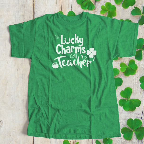 St. Patrick's Day my lucky charms call me teacher unisex DARK Tshirt