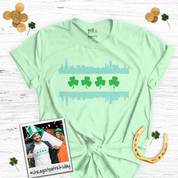 St. Patrick's Day Chicago skyline shamrock adult unisex Tshirt