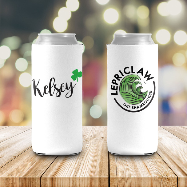 Funny St. Patrick's Day lepriclaw get shamrocked slim or regular size can coolie