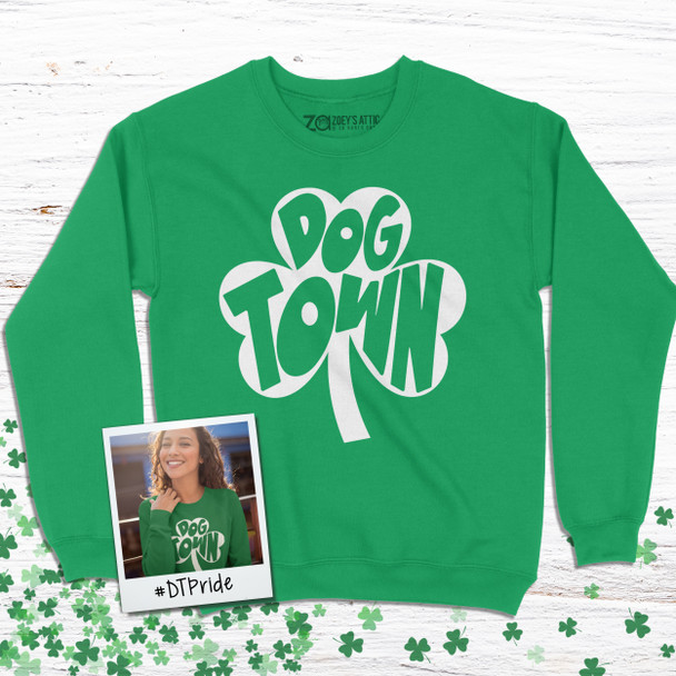 St. Patrick's Day shamrock dogtown saint louis adult crew neck sweatshirt