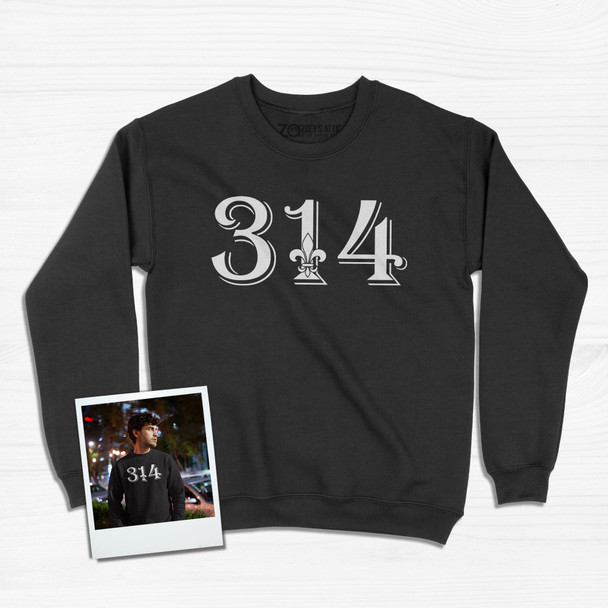 Personalized area code saint louis missouri fleur de lis adult crew neck DARK sweatshirt