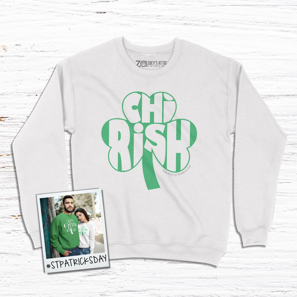 Chicago St. Patrick's Day Chi-Rish shamrock adult crew neck sweatshirt