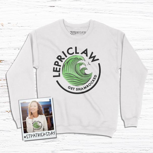 St. Patrick's Day funny lepriclaw get shamrocked adult crew neck sweatshirt