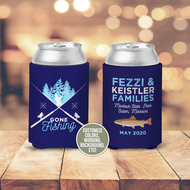 Gone fishing fresh water fly fishing personalized can coolies