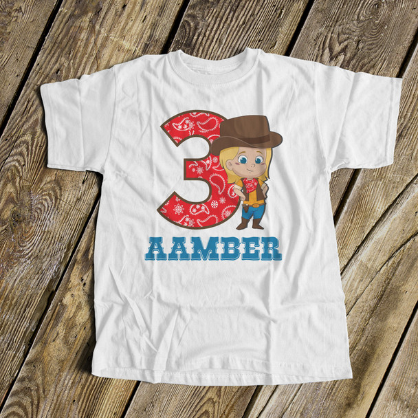 Cowgirl birthday any age personalized Tshirt