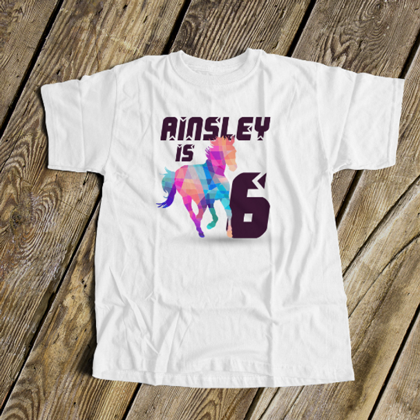 Birthday horse geometric any age girl personalized Tshirt