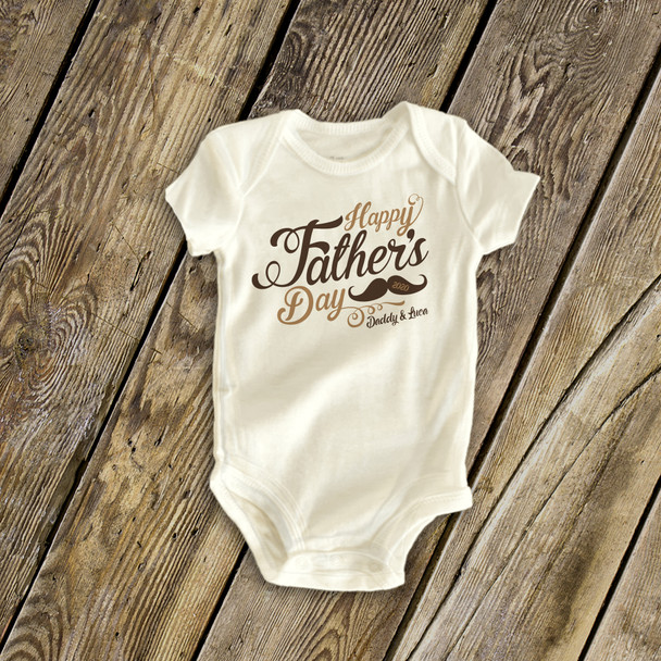 Happy Father's Day mustache personalized bodysuit or t-shirt